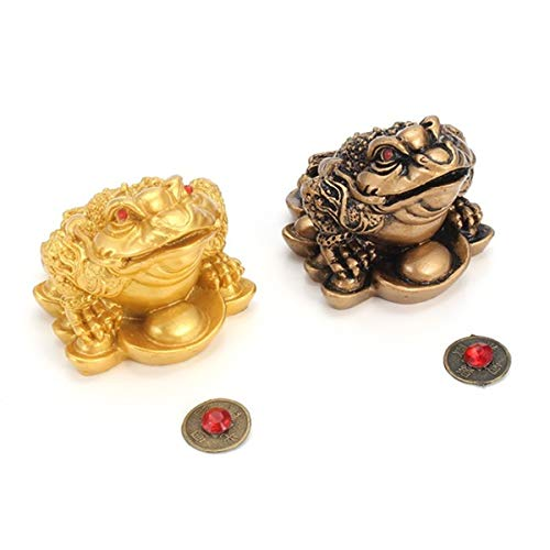 DWE Feng Shui Frog,2Pcs Money Lucky Frog Coin Chinese Charm For Prosperity Home Decoration