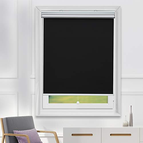 TFSKY Blackout Shades for Bedroom Cordless Roller Blinds and Shades for Windows Blackout Window Blinds with Spring System, UV Protection & Easy to Put Rise and Fall Black, 31x72