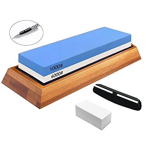 Schleifstein Messer Wetzstein Abziehstein Doppelseitiger Körnung 1000/6000 mit Rutschfeste Bambusbasis , Winkelführung , Korrekturstein, geeignet für das Geschenk des Küchenchefs