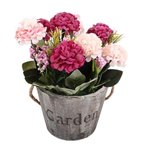 Fenteer Simulation Blumenstrauß aus Kunstblumen für Haus Garten Party Blumenschmuck - Rose Rot 2#