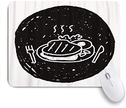Mausmatte Mauspad Grill Doodle Steak Grill Rindfleisch Geburtstag gekocht kreative Küche maßgeschneiderte Kunst Mousepad rutschfeste Gummibasis für Computer Laptop Schreibtisch Zubehör