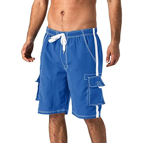 Wohthops Men's Straigth Fit Swim Trunks Vest Baggy Beachwear Quick Dry Boardshorts Elastic Waistband Blue, 40