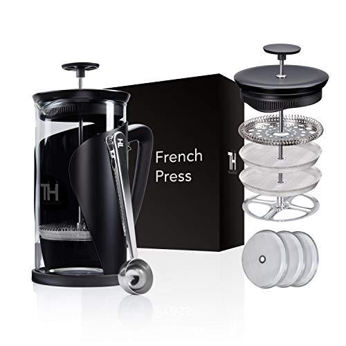 Thiru French Press | Kaffeebereiter mit 4D Filtersystem | Edelstahl & Glas (1L ohne Dosierlöffel)