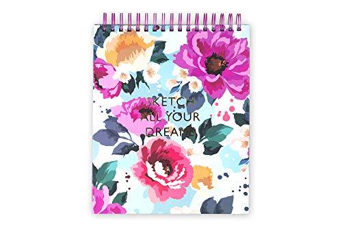 Tri-Coastal Design - MAXI Quaderno a Spirale con Fogli a Righe e Copertina Rigida Decorata - Taccuino a Spirale 20x30x2.5cm, Perfetto per Disegnare, Sketchpad (Flowers)