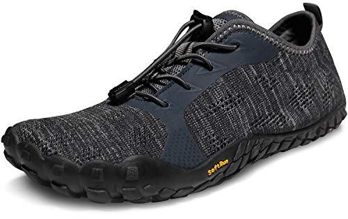 TSLA Men's Trail Running Shoes, Lightweight Athletic Zero Drop Barefoot Shoes, Non Slip Outdoor Walking Minimalist Shoes, Minimalist Dark Grey & Black, 11