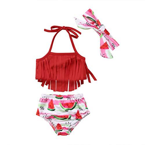 WangsCanis Baby Mädchen Badebekleidung Tankini 3-teiliges Badeanzug Quasten Blumen Ananas Wassermelone Sommer Bikini Set (0-6 Monate, Rot)