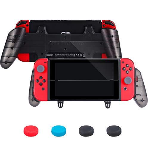 Zadii - Impugnatura ergonomica Pro Grip compatibile con Nintendo Switch, kit di accessori con comoda impugnatura, pellicola protettiva in vetro temperato e cuscinetti per pollice Joy-Con
