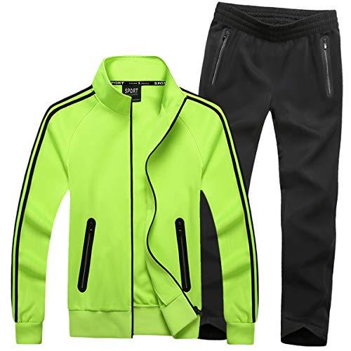 INVACHI Herren Trainingsanzug Sportanzug Jogginganzug Sporthose&Jacke Fitness Schnell Trocknend
