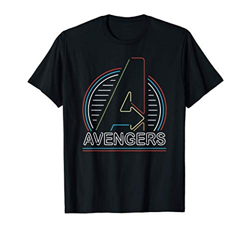 Marvel Avengers Logo in Neon Lights Maglietta