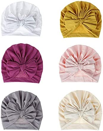 Bestjybt 6 Pcs Baby Turban Knot Hats Newborn Infant Toddler Hospital Hat Cotton Head Wrap Big product image