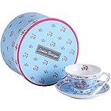 London Boutique Juego de 2 Tazas de té y platillos, diseño Vintage de Flora Rosa y Lavanda en Caja de Regalo (Rosa Azul 1 Unidad)