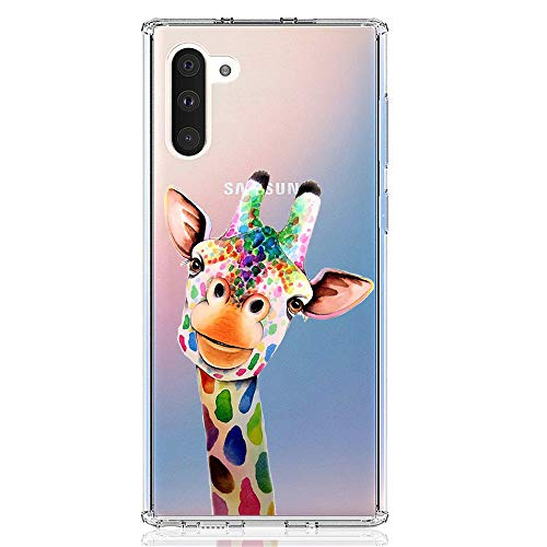 HUIYCUU Case Compatible with Galaxy Note 10 Case, Cute Animal Pattern Slim Fit Soft TPU Protective Cover Clear Design Funny Thin Novelty Bumper Back Case for Samsung Galaxy Note 10, Giraffe