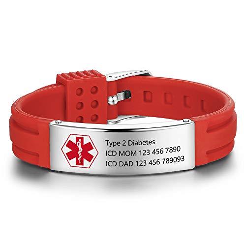 lorajewel Pulseras Personalizadas de Identificación de Alerta Médica Pulseras de Emergencia de Silicona de Acero Inoxidable Pulsera Ajustable de Emergencia SOS para Hombres y Mujeres