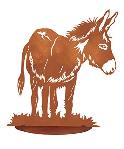 Edelrost Esel Flecki auf Bodenplatte 46 x 42 cm Bauernhoftiere Garten Deko