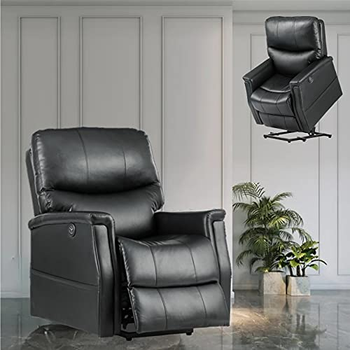 VERZEY Power Lift Recliner Chair Sofa with Elderly Massage and Heating Function, Home Sofa Chair Electric lazyboy Recliner with USB Ports, Side Pockets and Cup Holders (Black)