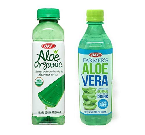 OKF Aloe Vera Organic + Sugar free Juice - Healthy Edition, Vegan, Gluten free Organic Aloe Vera Juice with Chewable Aloe Added. No Fat, Non GMO, BPA Free Bottles, 16.9 Fluid Ounce with Pure Aloe Pulp