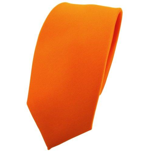 TigerTie schmale Satin Krawatte in orange pastellorange hellorange einfarbig uni