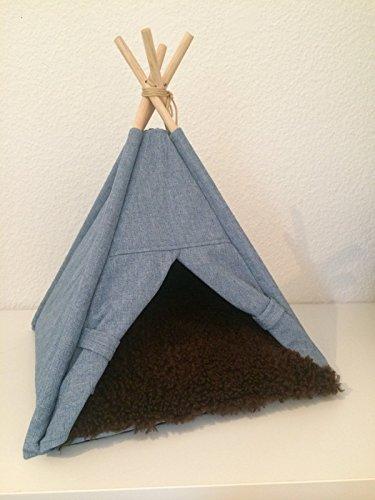 animal-design Tipi tent stof jeans look kleine honden en katten hondenbed kattenhuis hondengrot met hoekige ingang