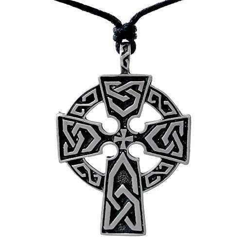 OhDeal4U Celtic Triquetra Cross Pewter Pendant Charm Amulet Necklace Chain Choker (Black Adjustable Cord)