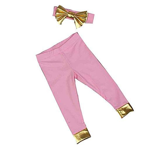 kingko® Beau Pantalon Infant bébé filles Dorure + bande de cheveux (24M, rose)