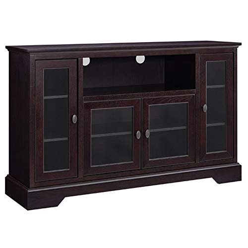 """Pemberly Row 52"""" Highboy Style Wood TV Stand Console Entertainment Credenza Buffet Sideboard Cabinet with Glass Storage in Espresso"""