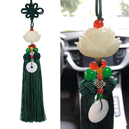Lotus Double Tassel Car Hanging Decoration with Chinese Knot, Car Charm Rear View Mirror Pendant Car Styling Accessories Auto Decoration Gift