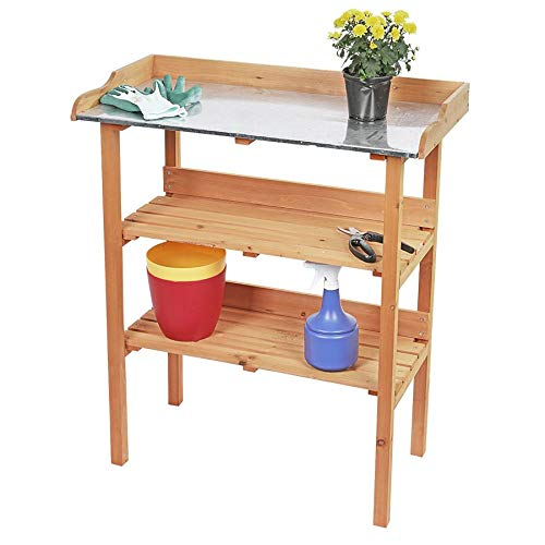 Wooden potting bench with metal worktop – 92x78 cm – gardening gardener table