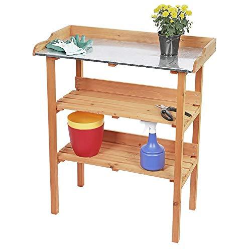 Spetebo Holz Pflanztisch mit Metall Arbeitsplatte - 90x76 cm - Garten Arbeitstisch Gärtnertisch mit Zwei Ablageflächen