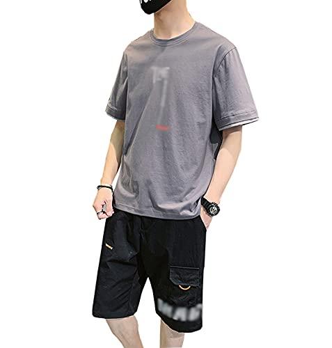 GOLOFEA Juego de chándales para Hombres para Manga Corta de Verano T-Shirt T-Shirt Pantalones Cortos Botter Sportswear Juegos de Traje de chándal XL