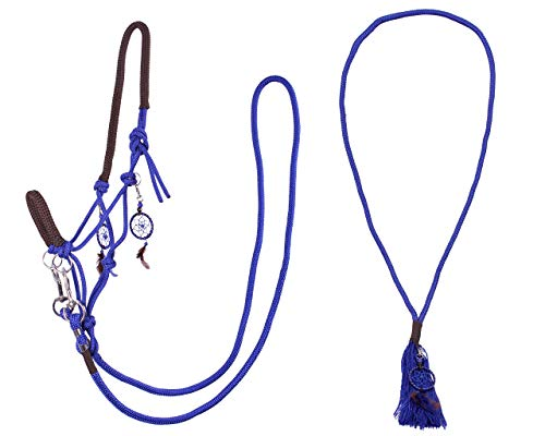 Arbo-Inox Knotenhalfter Zügel Halsring Kombiset Knotenhalfter-Set (Pony, Blau)