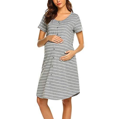 Zolimx Damen Stillnachthemd Kurzarm Umstandsnachthemd Lang Pyjama Nachtwäsche mit Knopfleiste für Schwangere Frauen Sommer