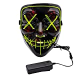 Apipi Halloween LED Light up Mask-Frightening EL Wire Cosplay Mask for Christmas Festival Parties(Green)