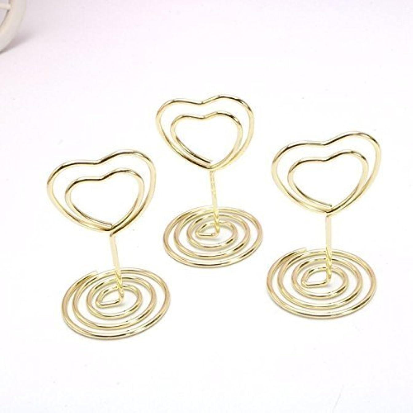 するだろう組微妙JANOU Mini Heart Shape Place Card Memo Holder Picture Stand Note Clip for Wedding Party Decoration Pack 10pcs (Gold) [並行輸入品]
