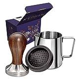 KYONANO Espresso Tamper 51 mm, Kaffee Tamper aus Hochwertigem Edelstahl und Echtholzgriff, Barista Tamper inkl. Tampermatte, Milchkännchen [350ml], kostenloser E-Books – Barista Set für Kaffeegenuss