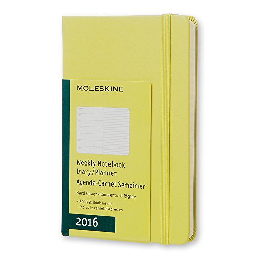 """Moleskine Classic 12 Month 2016 Weekly Planner, Hard Cover, Pocket (3.5"""" x 5.5"""") Hay Yellow"""