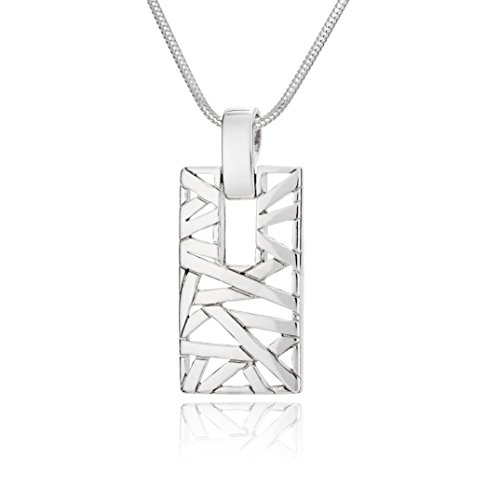 LillyMarie Damen Massive Silberkette Sterling-Silber 925 Anhänger Rechteck Längen-verstellbar Hochwertiges Etui aus Holz Partner Geschenke