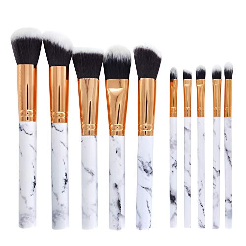 URSING 10 Pcs Pinceaux à maquillage Professional Foundation Blush Powder Eye shadow Blending Brushes Cosmetic Brush Kit - Marble Pattern (White)