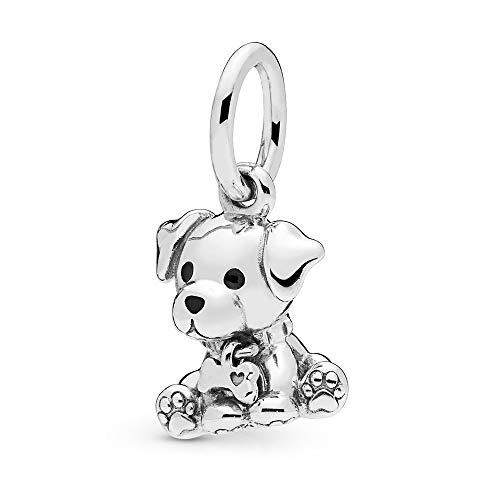FGT Labrador - Colgante para Pulsera, diseño de Perro Labrador con Forma de Hueso, Plata de Ley, cumpleaños o Navidad