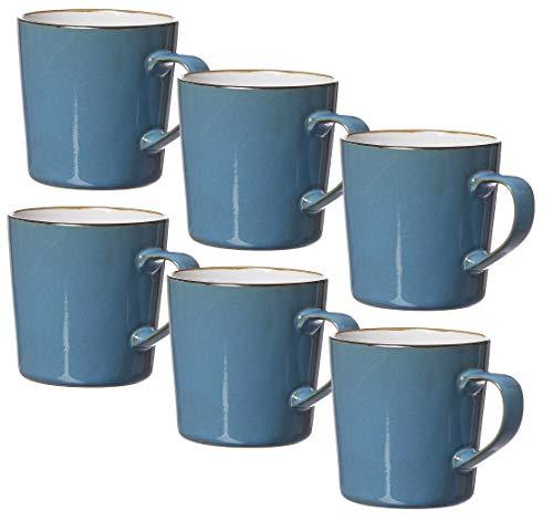 Ritzenhoff & Breker Kaffeebecher-Set Visby, 6-teilig, je 400 ml, Blau, Steinzeug