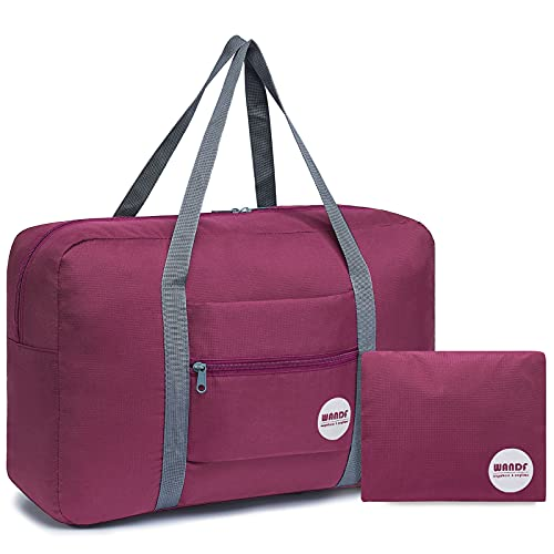 Wandf Foldable Travel Duffel Bag Luggage Sports Gym Water Resistant Nylon (Wine Red)