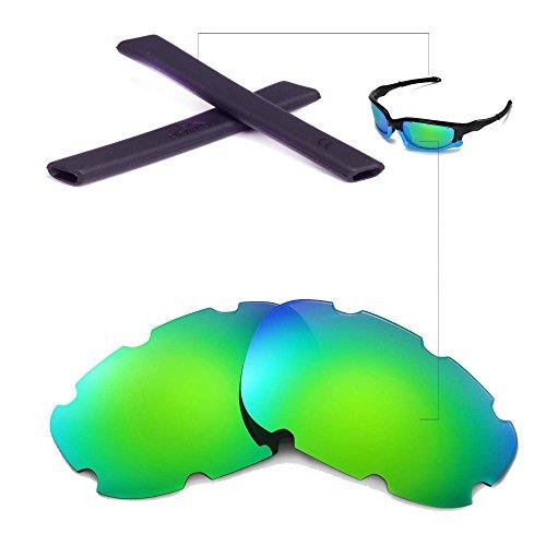 Walleva Belüftet Wechselgläser Und Earsocks für Oakley Split Jacket Sonnenbrille - Mehrfache Optionen (Braun Polarisierte Linsen + Schwarzer Gummi)