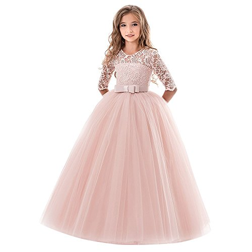 Find Discount Newborn Girls Lace Bowknot Princess Dress Wedding Party Evening Tutu Tulle Gown Skirt