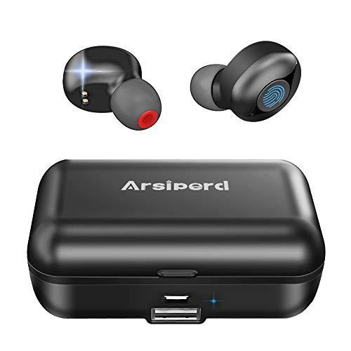 Bluetooth Wireless Earphones, True Wireless Headphones BT 5.0 Earbuds 60H Playtime Deep Bass Stereo Sound with Mic, Auto Pairing, IPX5 Waterproof, In Ear sport Headphones With 2000mAh Charging Case