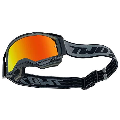 TWO-X ATOM Crossbrille grey - OUTBREAK verspiegelt iridium MX Brille Nasenschutz Motocross Enduro Spiegelglas Motorradbrille Anti Scratch MX Schutzbrille