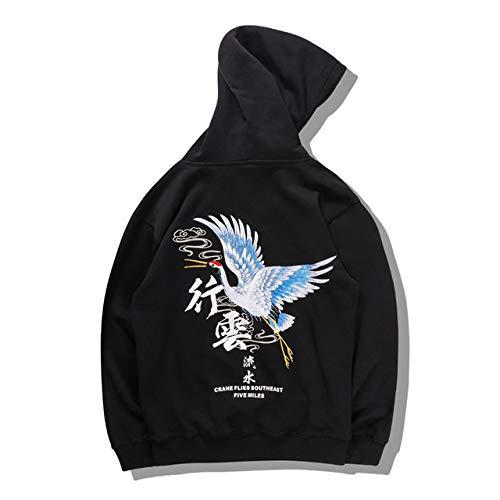 YDMZMS Merk Geborduurde Kraan Vogel Chinese Personages Print Sweatshirts Hoodies Casual Pullover Hooded Wear Hoodie XL Zwart