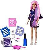 Barbie Fashionistas poupée Couleurs Surprises avec accessoires pour changer la couleur de ses longs cheveux tricolores, jouet pour enfant, FHX00