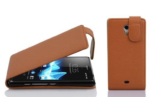 Cadorabo Custodia per Sony Xperia T in Marrone Cioccolata - Protezione in Stile Flip di Similpelle Strutturata - Case Cover Wallet Book Etui