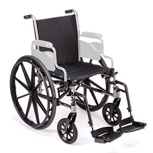 "Invacare Tracer SX5 Wheelchair, with Full Length Arms and T93HCP Hemi Footrests with Heel Loops, 18"" Seat Width"