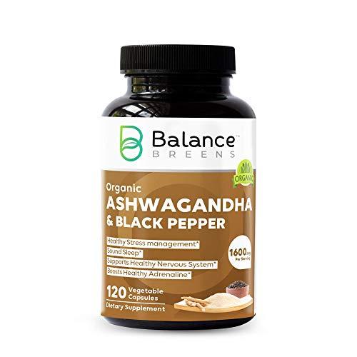 Equilibrio Breens Certified Organic Ashwagandha 1600 mg con suplemento de pimienta negra, 120 cápsulas veganas, alivio de ansiedad natural, potenciador del estado de ánimo, apoyo inmune y tiroides, salud del sueño