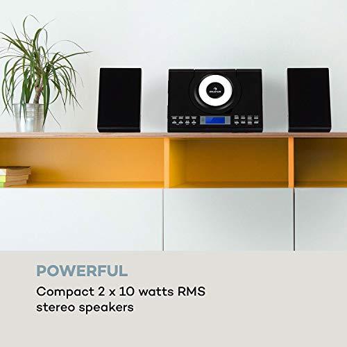 auna Wallie Microsystem - Stereoanlage, Microanlage, Kompaktanlage, 2 x 10 W RMS Stereo-Lautsprecher, Front-Loading CD-Player, UKW, Bluetooth, USB-Port, LCD-Display, Fernbedienung, schwarz